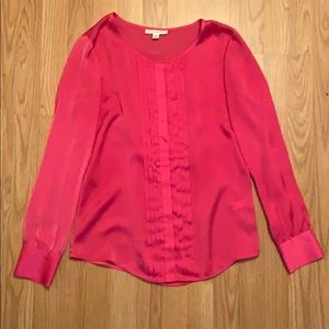 Pink Satin Shirt with tuxedo ruffle in front